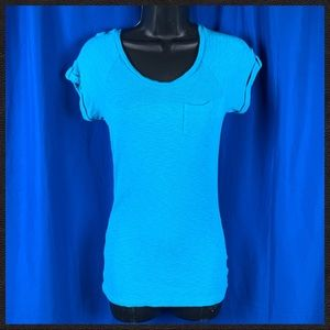 Blue Knit Short Sleeve Top - Small